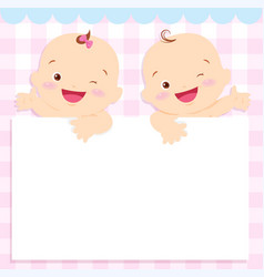 Baby boy and girl space frame vector
