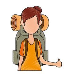 Backpacker faceless cartoon vector