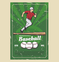 baseball retro poster with sport items and player vector image