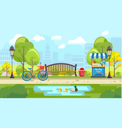 bench park with pond in colorful vector image