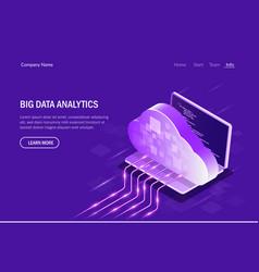 big data analytics isometric concept cloud vector image