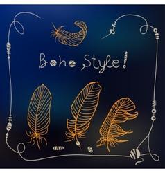 Boho style frame background vector