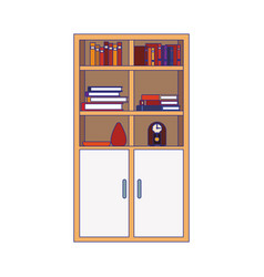 bookcase with cabinets and decorative ornaments vector image