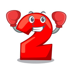 Boxing cartoon paper number two on letter vector