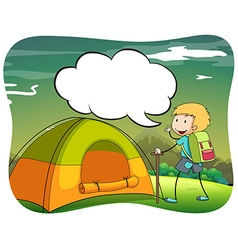 Boy hiking and camping out vector