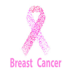 breast cancer awareness pink ribbon made of dots vector image