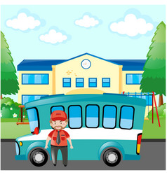 Bus driver standing by blue bus vector