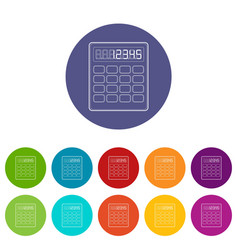 calculator icon outline style vector image
