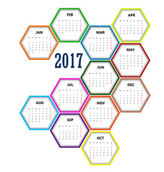 Calendar in hexagon 2017 set color vector