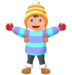 Cartoon a boy in Winter clothes waving hand vector image
