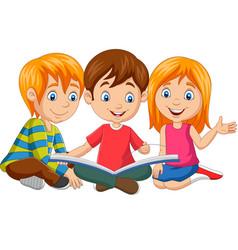 cartoon happy kids reading a book vector image