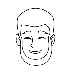 Character man face happy smile cartoon vector