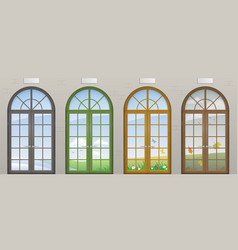 Colored arched doors vector