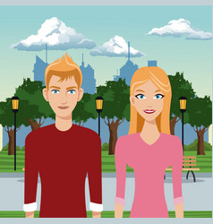 Couple young in the park with urban background vector