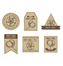 Craft labels with cotton vector