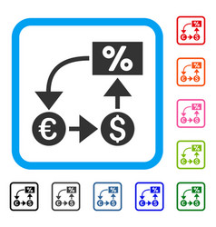 Currency cashflow framed icon vector