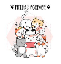 Cute doodle cat friend gang take selfie friend vector