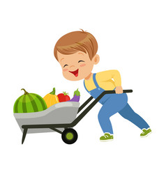 Cute little boy character pushing wheelbarrow full vector