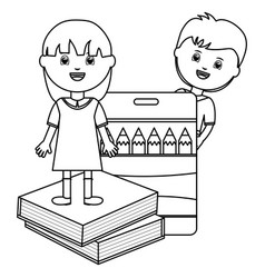 Cute little students couple with book and colors vector