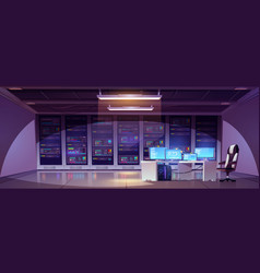data center room with server racks and computer vector image