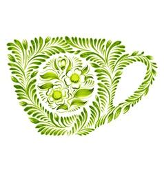 Decorative ornament teacup vector