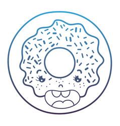 Degraded line kawaii happy sweet donut snack vector