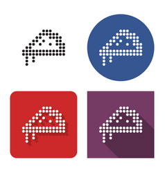 dotted icon pizza in four variants with short vector image