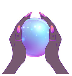 female hands holding magic crystal ball isolated vector image