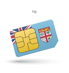 Fiji mobile phone sim card with flag vector image