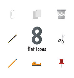 Flat icon equipment set of fastener page clippers vector
