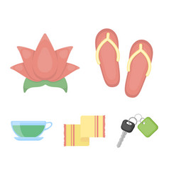 flip-flops for the pool lotus flower with petals vector image