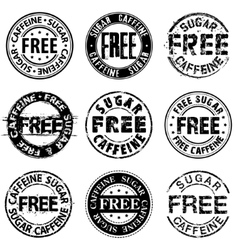 Free sugar and caffeine round stamps vector