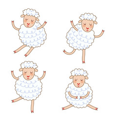funny little sheep set in different poses vector image