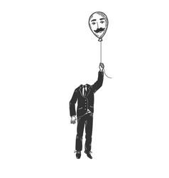 gentleman with balloon head sketch engraving vector image