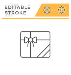 gift editable stroke line icon vector image