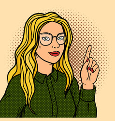 Girl talk and point with forefinger pop art vector