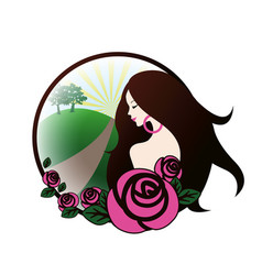 girl with pink roses vector image
