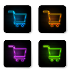 glowing neon shopping cart icon isolated on white vector image