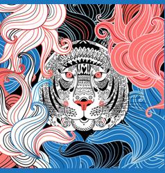graphic ornamental portrait tiger vector image