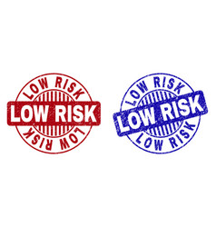 Grunge low risk scratched round stamp seals vector