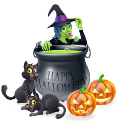 halloween cartoon witch scene vector image