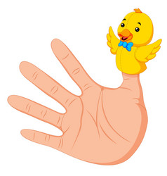 hand wearing a duck finger puppet on thumb vector image
