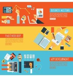 Hands concept teamwork flat banners set vector