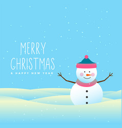 Happy snowman merry christmas and winter vector