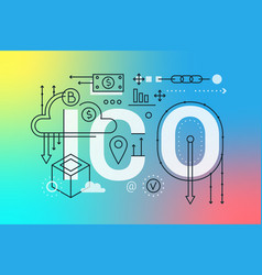 ico word trendy composition concept banner vector image