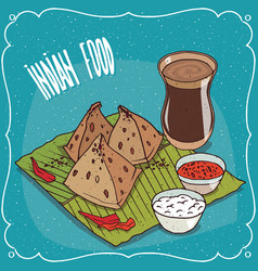 indian snack samosa with sauce and masala chai tea vector image