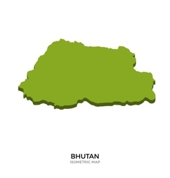 Isometric map of Bhutan detailed vector