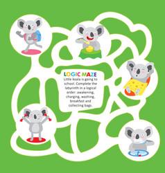 kids maze game puzzle koala order printable sheet vector image