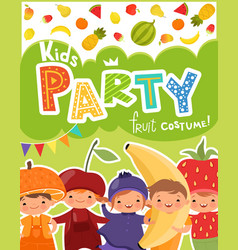 Kids party invitation design template of vector