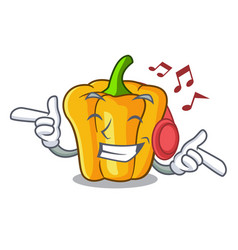 listening music sweet yellow pepper in the kitchen vector image